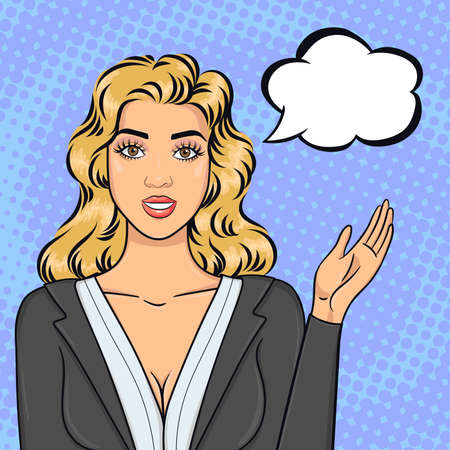 Pop art blonde business woman in suit pointing on speech bubble, offering succesful idea or strategy, vector illustration in retro comic style Векторная Иллюстрация
