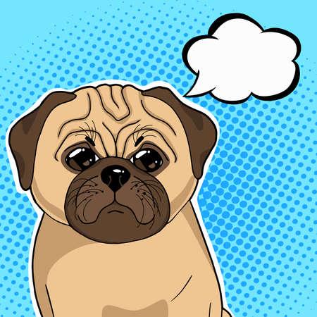 Pug dog with thinking balloon vector illustration in pop art retro style. Vektoros illusztráció