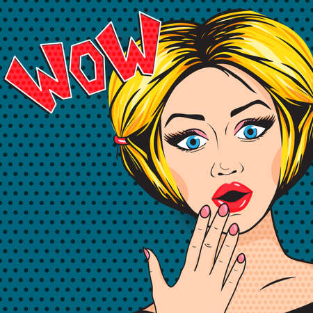 Pop Art Shocked Woman with open mouth, WOW message in comic style. Retro Blonde Surprised woman, vector illustration.