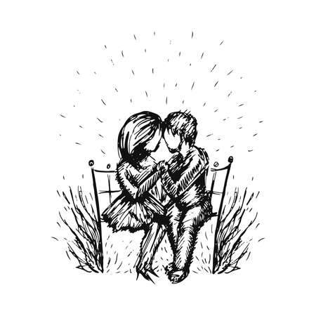 Vector graphic sketch of romantic happy young couple in love sitting on bench. Stylish black and white two people in love hand drawn illustration. Illusztráció