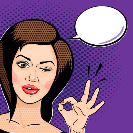 Pop art comics style Playful young woman winking and showing ok sign, thinking bubble for your message. Vector illustration.