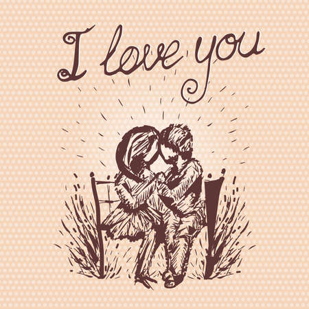 Vector retro graphic Valentine's Day Card with romantic happy young couple in love sitting on bench, hand drawn message I Love You. Two people in love stylish line art illustration. Illusztráció