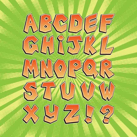 Yellow comic font in pop art retro style. Bright comic alphabet collection set.