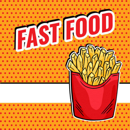 Vector French Fries in red paper Box, pop art fast food design