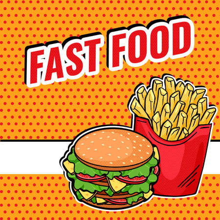 Vector Pop Art Fast Food design - tasty French Fries and Burger banner