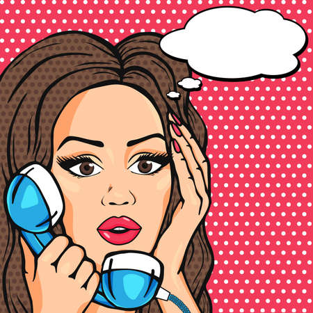 Vector surprised pop art comic woman face, shocked woman on phone with talk bubble illustration