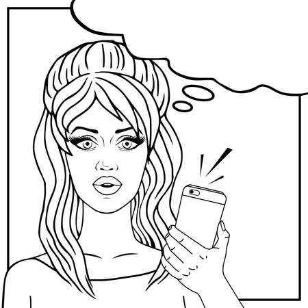 Retro woman on phone pop art comic vector illustration, girl with mobile phone outlined