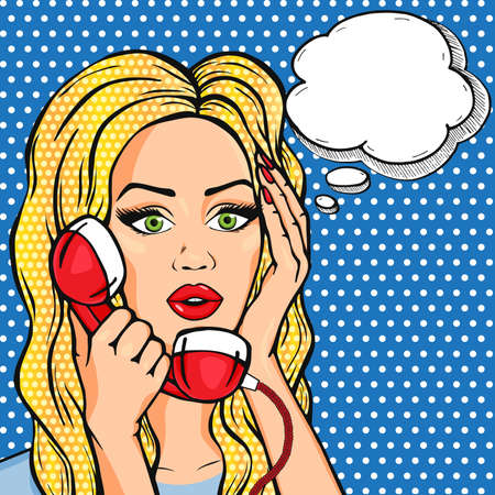 Vector shocked woman on phone with thought bubble, vector pop art comic style