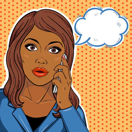 Pop art african american business woman on phone with speech bubble in comic style. Serious african business woman talking on mobile phone. Vector illustration.
