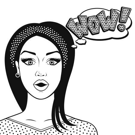 Line art suprised woman face - WOW in comics style, black and white vector illustration isolated.
