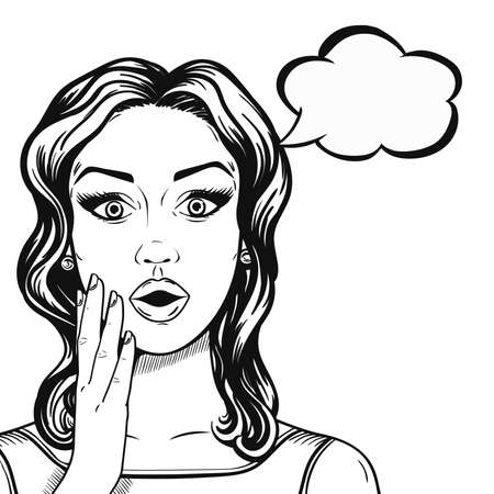 Line art shocked woman face with thought bubble in comic sketch style, vector. Black and white young woman surprised face.