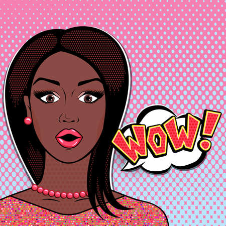 Vector pop art comics surprised african woman face with open mouth and WOW word bubble. Shocked african american woman hip in glittering pink dress.