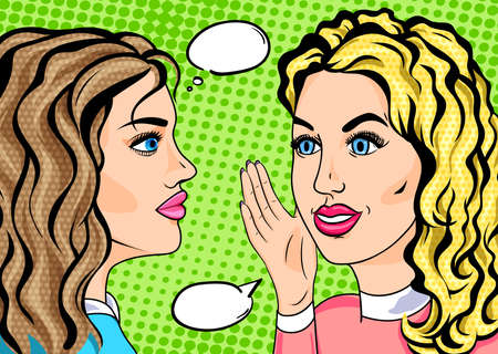 Retro pop art two girls whispering secret, gossiping friends concept in comics sketch style. Blonde and brunette women talking.