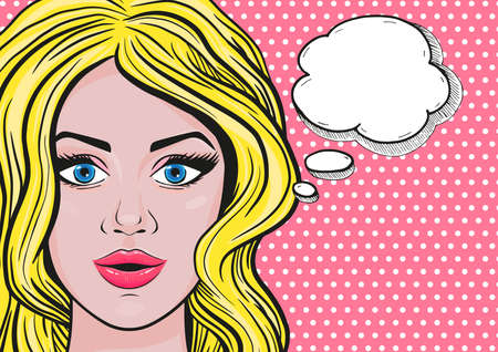 Vector pop art blonde woman smiling face with speech bubble for message in retro comic style on pink dotted background.