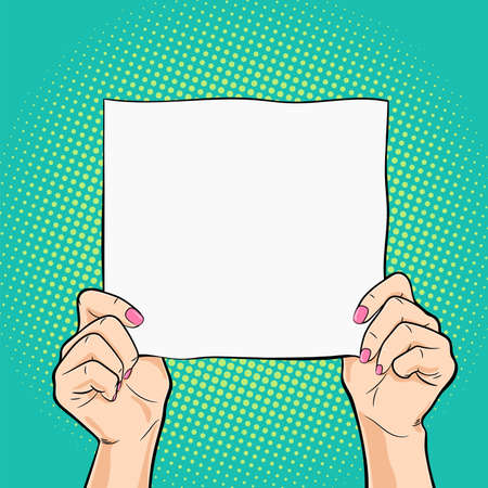 Female hands holding a white square paper vector illustration in pop art retro style