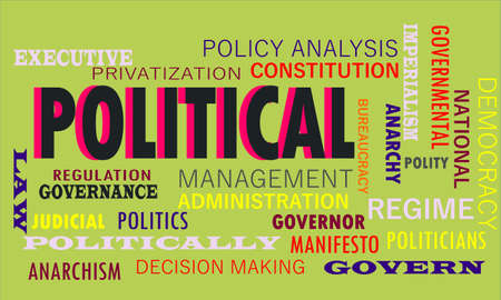 Political meaningful word art presented on vocab text cloud which relate with government factors. Illusztráció