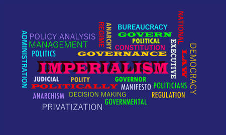 Imperialism word presented with related text cloud on education abstract background. Ilustrace