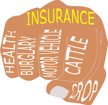 Insurance classification called health, burglary, motor vehicle, cattle, crop with hand punch art pattern graphic.