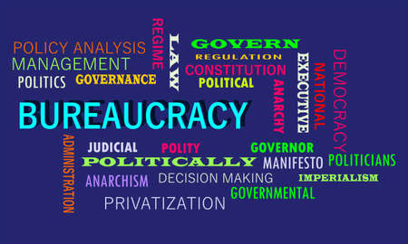 Bureaucracy word presented with related text cloud on education abstract background.