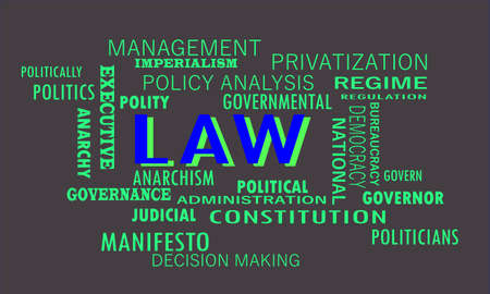 Law meaningful word art presented on vocab text cloud which relate with government factors.