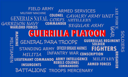 Guerrilla Platoon word represents to army unit is presented with related terminology on text cloud official abstract.