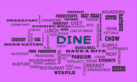Dine word displayed for food related fact of human body on text clouds illustration educational background.