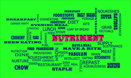 Nutriment word presented on text cloud background which is related human body nutritional facts. Illustration