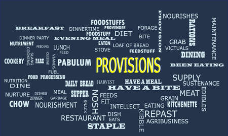 Provisions word displayed for food related fact of human body on text clouds illustration educational background. Illustration