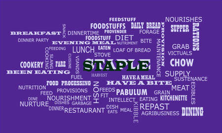 Staple word presented on text cloud background which is related human body nutritional facts.