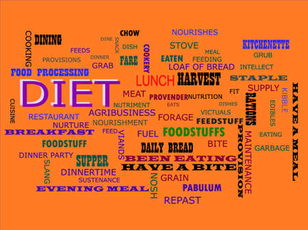 Diet word presented on text cloud background which is related human body nutritional facts. Illustration