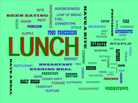 Lunch word displayed for food related fact of human body on text clouds illustration educational background.