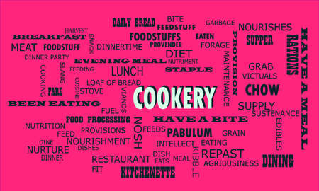 Cookery word presented on text cloud background which is related human body nutritional facts.
