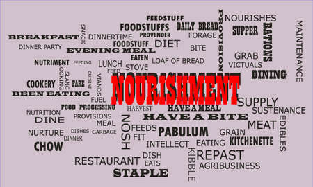 Nourishment word presented on text cloud background which is related human body nutritional facts. Illustration