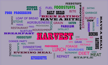 Harvest word displayed for food related fact of human body on text clouds illustration educational background.