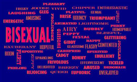 Bisexual word presents human relationship factor is presenting with multiple related parts on digital print text cloud pattern.
