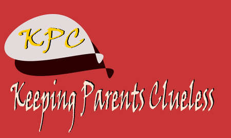 KPC abbreviation Keeping parents clueless displayed with text and symbolic pattern on educational background for thought prints. Ilustração