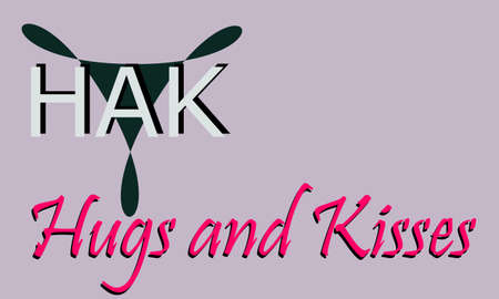 HAK full form Hugs and kisses made with logical  art pattern for business text communication display texture.