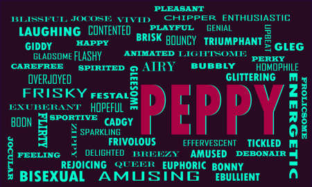 Peppy Word reflect people love relation presented with similar type of text on educational abstract clouds. Illustration