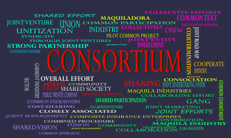 Consortium a business related terminology created on word cloud abstract background for commercial education purpose.