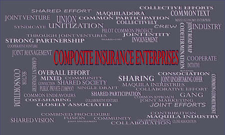 Composite Insurance Enterprises a business related terminology created on word cloud abstract background for commercial education purpose. Иллюстрация