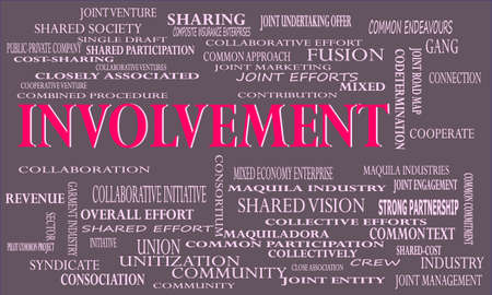 Involvement a business related terminology created on word cloud abstract background for commercial education purpose. Illustration