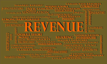 Revenue a business related terminology created on word cloud abstract background for commercial education purpose.