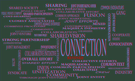 Connection a business related terminology created on word cloud abstract background for commercial education purpose. Иллюстрация