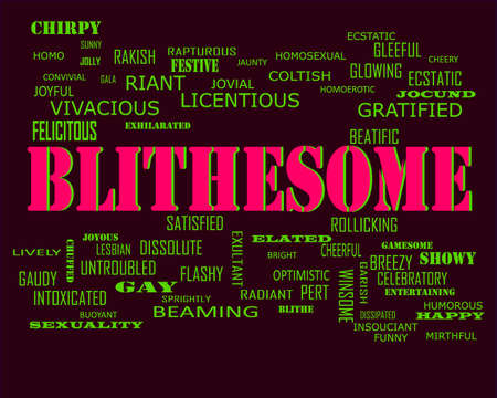 Blithesome word presents human love relation displayed on education text cloud illustration background.
