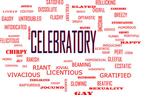 Celebratory word related with people loving symbol presented on similar word cloud abstract text background.