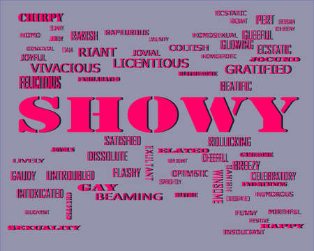 Showy word related with people loving symbol presented on similar word cloud abstract text background.