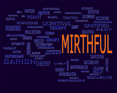 Mirthful word related with people loving symbol presented on similar word cloud abstract text background.