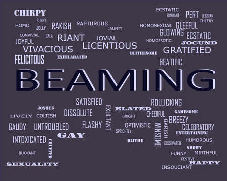 Beaming word related with people loving symbol presented on similar word cloud abstract text background. Stock fotó
