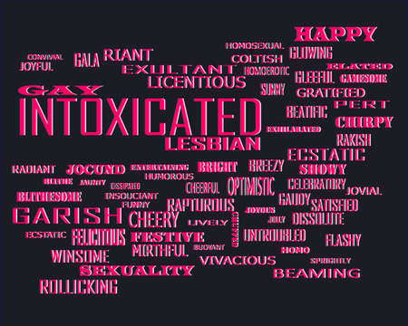 Intoxicated word related with people loving symbol presented on similar word cloud abstract text background.