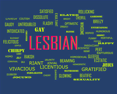 Lesbian word related with people loving symbol presented on similar word cloud abstract text background.